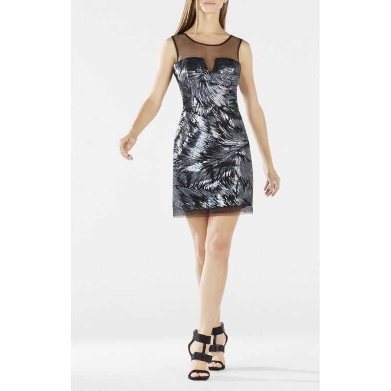 ABIGAIL SHEER-NECK SEQUINED DRESS