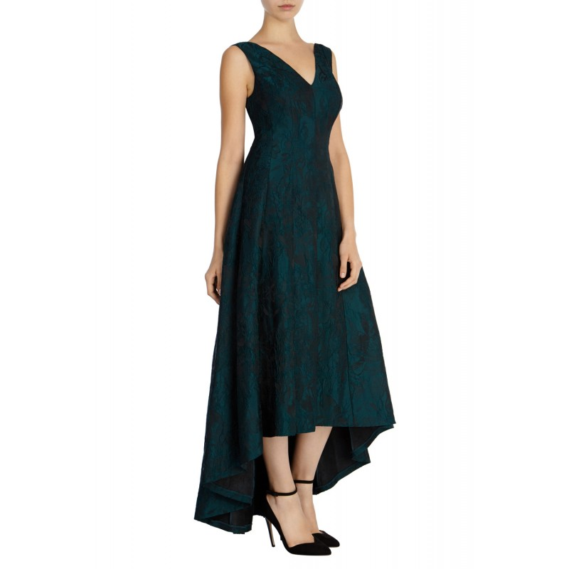 e09cdb91b4f58 Green Aria Fit-and-Flare Evening Gown
